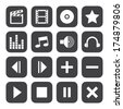 Black and White media player icons - stock