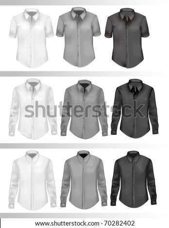 Black and white men shirts. Photo-realistic vector illustration. - stock vector