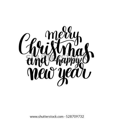 black and white Merry Christmas and Happy New Year calligraphic hand lettering, vector illustration