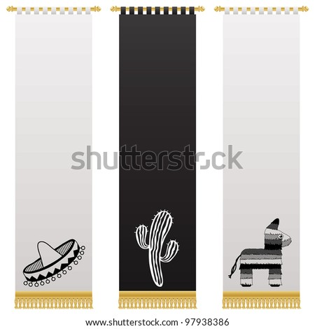 black and white mexican wall hangings with gold tassel fringing, isolated on white - stock vector
