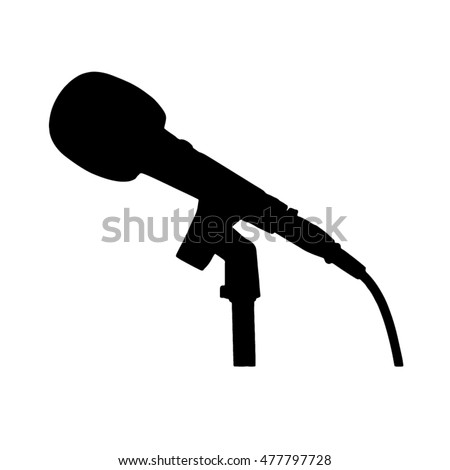 Black White Microphone Stand Cable Silhouette Stock Vector ...