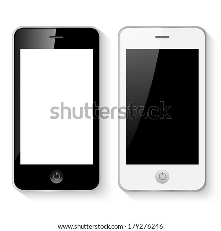 Black and white mobile smart phones vector illustration isolated - stock vector