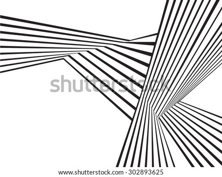 Black And White Mobious Wave Stripe Optical Art Abstract Design