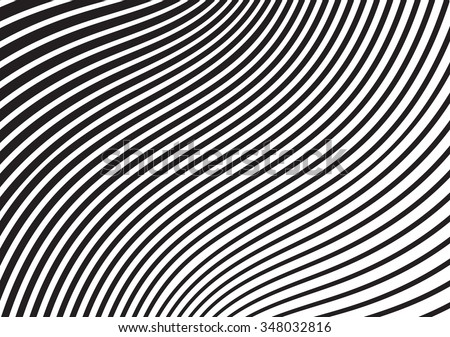 black and white mobious wave stripe optical design opart - stock vector