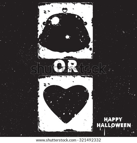 Black and white motivational posters. Vintage purse with calligraphy. Purse and heart shape. Inspirational Halloween typography. Hand drawn typography poster Trick or treat - stock vector