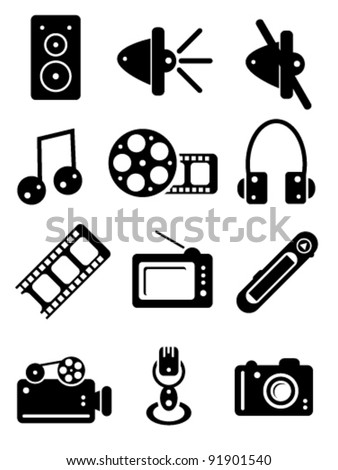 Black and White Multimedia Icons, vector