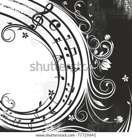 black and white music background - stock vector