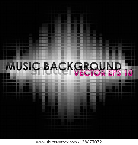 Black and white music mosaic background. Vector version. - stock vector