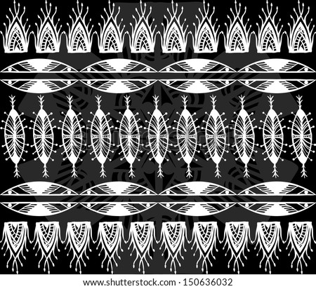 black and white native american pattern - stock vector