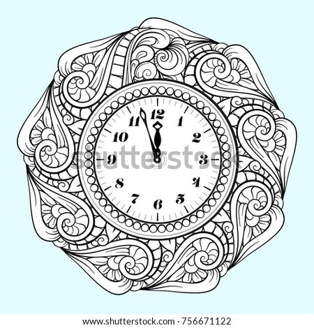Black And White New Year Vector Clock Holiday Coloring Page