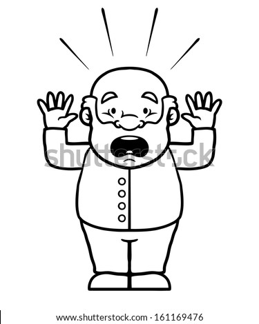 Black and white old man being shocked with his hands up. - stock vector