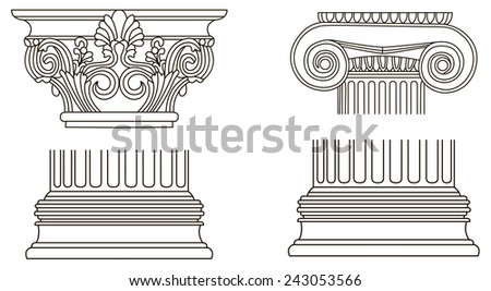 Black and white old-style Greece column eps10 vector illustration - stock vector