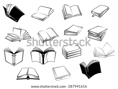 Black and white open books or tutorials in outline sketch style for education, logo or emblems design - stock vector