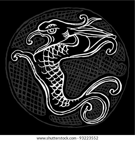Black and white original drawing of chinese dragon - stock vector