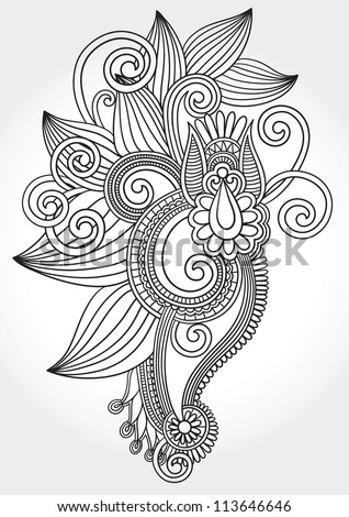 black and white original hand draw line art ornate flower design. Ukrainian traditional style