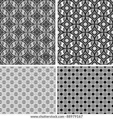 Black and white ornamental seamless pattern. Vector background.