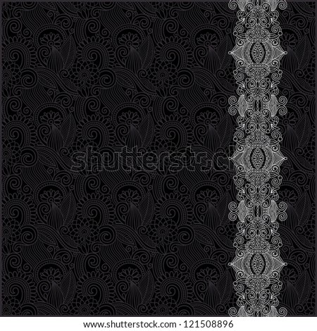 black and white ornate floral background with ornament stripe