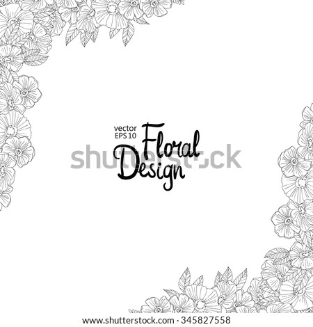 Black And White Outline Border Made With Flowers Floral Corner