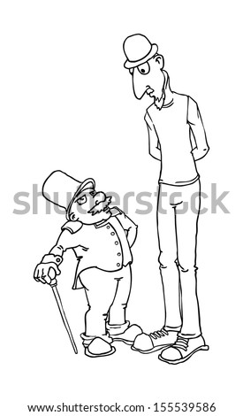 Black and white outline, short and tall cartoon characters, male, vector illustration - stock vector