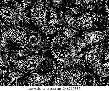 black and white paisley wallpaper - stock vector