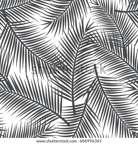 Black And White Palm Leaf Seamless Pattern