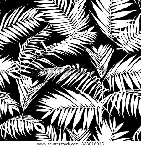 Black White Palm Leaves Pattern Seamless Stock Vector ...
