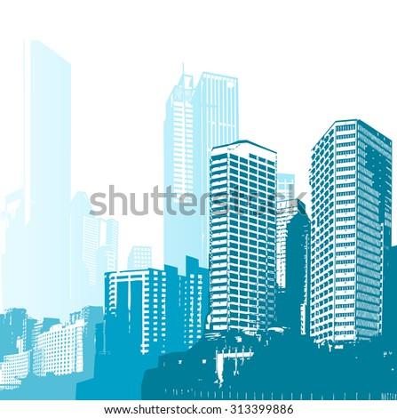 Black and white panorama cities. Vector art - stock vector
