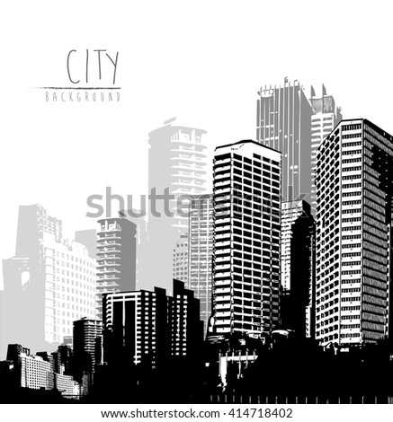 Black and white panorama of cityscape with place for your text. - stock vector