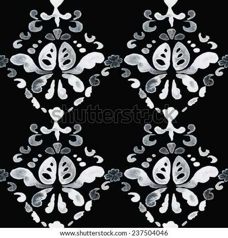 Black and white pattern. Damask seamless pattern. Vector illustration.