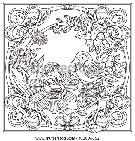black and white pattern for coloring book for adults with adorable girl and bird background - stock vector