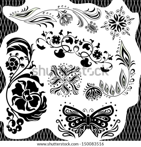 Black and white pattern. Set - stock vector