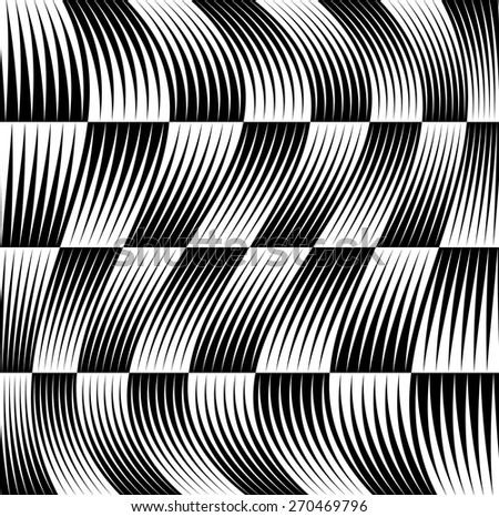 Black and white pattern with wavy distortion - stock vector