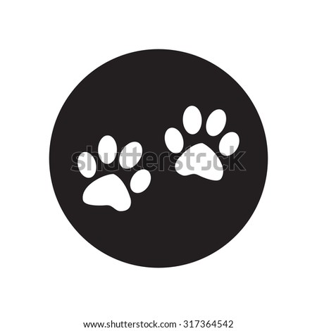 black and white  Paw sign icon. Dog pets steps symbol.  Classic flat icon. Vector illustration - stock vector