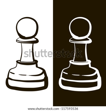 Black and white pawns. A children's sketch - stock vector