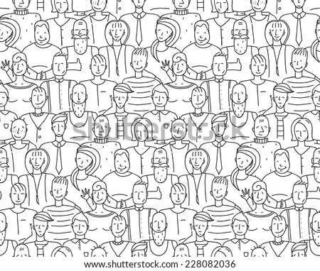 Black and White People Throng Seamless Background. Monochrome outline people drawing. Vector illustration EPS8. - stock vector