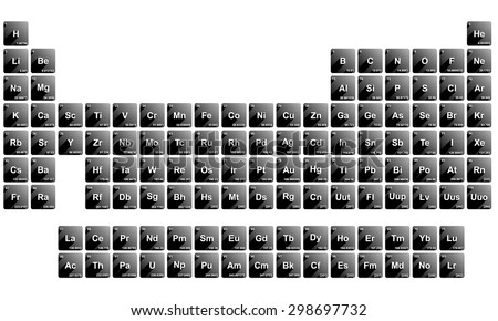 Black white periodic table all elements stock photo photo vector black and white periodic table of all elements with details and shadows urtaz Images