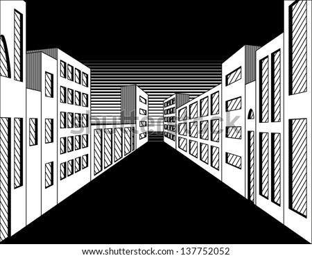 Black and white perspective night city street - stock vector
