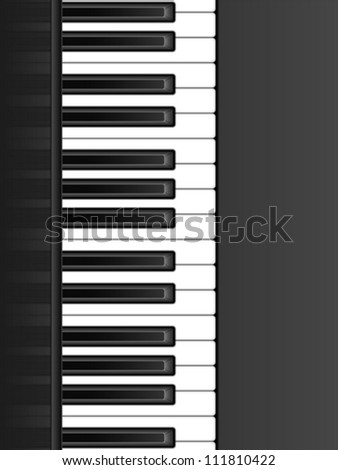 Black and white  piano keyboard background. Vector illustration. - stock vector