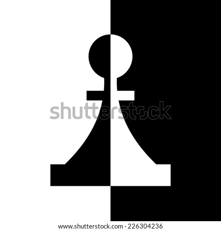 Black-and-white piece. Chess game, strategy and logic - stock vector