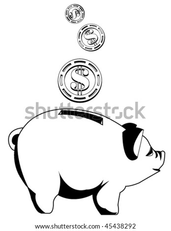 Black and white piggy bank with coins - stock vector