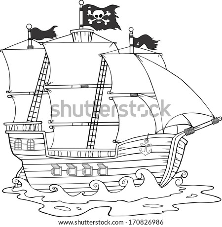 Black And White Pirate Ship Sailing Under Jolly Roger Flag. Vector Illustration