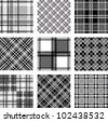 Black and white plaid patterns - stock vector