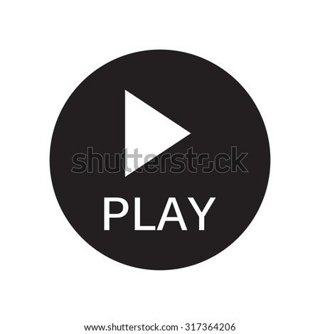 black and white Play icon, vector. - stock vector
