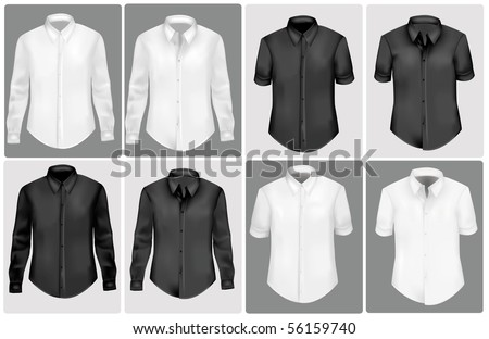 Black and white polo shirts. Photo-realistic vector illustration. - stock vector