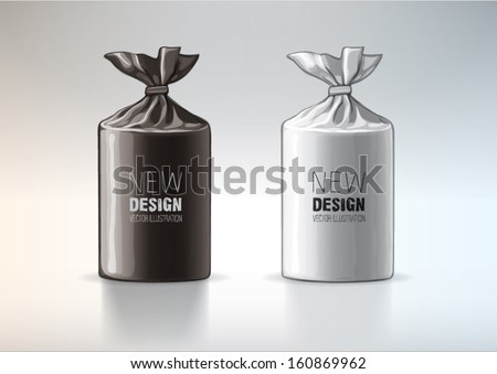 Black and white polythene shiny bag. Sketch style - stock vector