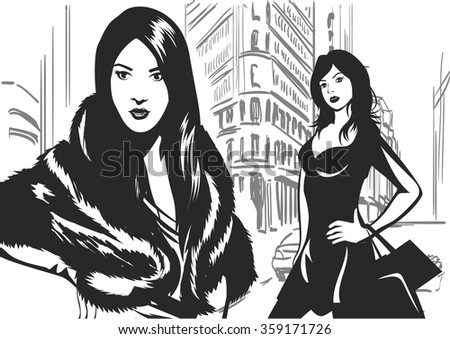 Black and white portrait of  two women on the street. Vector illustration