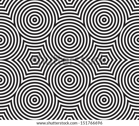 Black and White Psychedelic Circular Textile Pattern. Vector Illustration. - stock vector