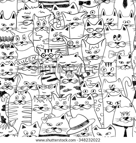 Black and white psychedelic seamless pattern with sketch funny cats. Abstract graphic background. - stock vector