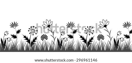 Black and white repeatable flower border. Floral pattern for cards, invitations, websites and other design projects.