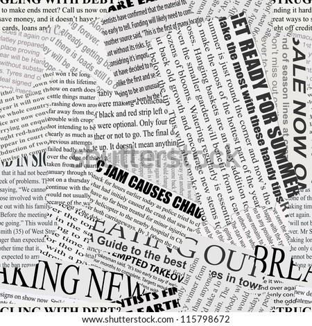 Black and white repeating torn newspaper vector background. Continuous pattern left, right, up and down - stock vector